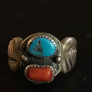 Vintage Navajo Turquoise & Coral 925 Silver Ring